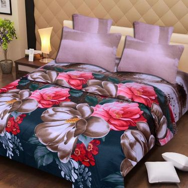 Set of 2 3D Printed Double Bedsheet with 4 Pillow covers -IWS-3d-61