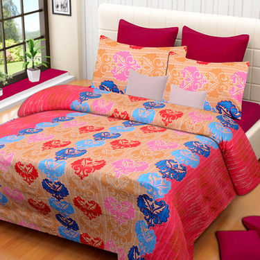 Set of 2 IWS Cotton Printed Double Bedsheet with 4 Pillow Covers-CB1271