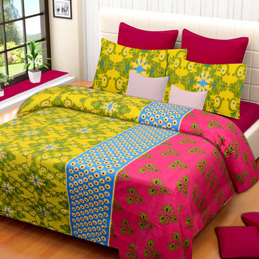 Set of 2 IWS Cotton Printed Double Bedsheet with 4 Pillow Covers-CB1293