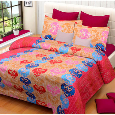 Set of 2 IWS Cotton Printed Double Bedsheet with 4 Pillow Covers-CB1329