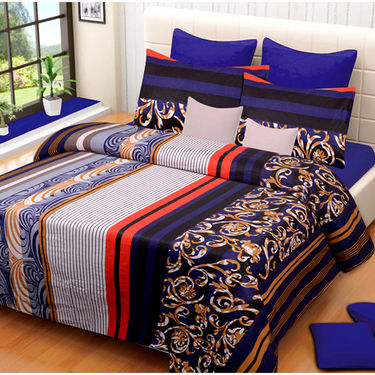 Set of 2 IWS Cotton Printed Double Bedsheet with 4 Pillow Covers-CB1332
