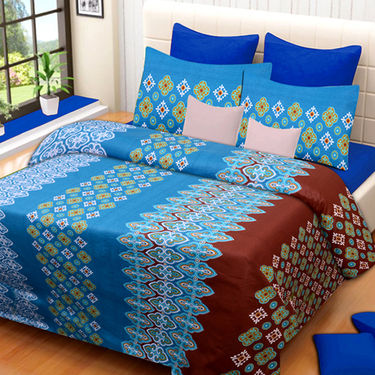 Set of 3 IWS Cotton Printed Double Bedsheet with 6 Pillow Covers-CB1387