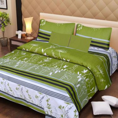 IWS Set of 2 100% Cotton Double Bedsheet with 4 Pillow Cover-IWS-CB-632