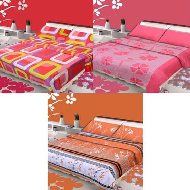 IWS Set of 3 100% Cotton Double Bedsheet with 6 Pillow Cover-IWS-CB-641