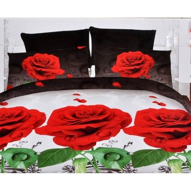 4D Printed  Double Bed Sheet With 2 Pillow Cover- JF-018
