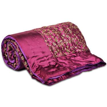 Jaipuri Silk Razai with Gold Prints - Red or Maroon or Purple
