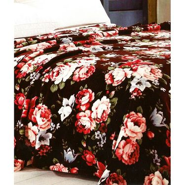 Amore Designer Printed Double Bed Cover Cum Blanket With 2 Pillow Covers-KDCB05