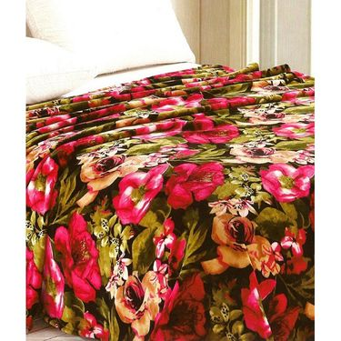 Amore Designer Printed Double Bed Cover Cum Blanket With 2 Pillow Covers-KDCB09