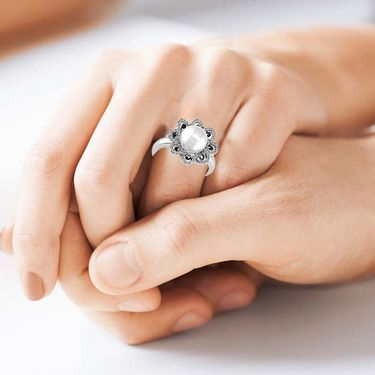 Kiara Swarovski Signity Sterling Silver Pooja Ring_Kir0681 - Silver