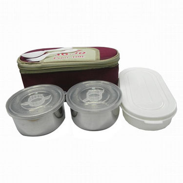 Insulated Bag Lunch Box with 2 Stainless Steel and 1 Plastic Compartment