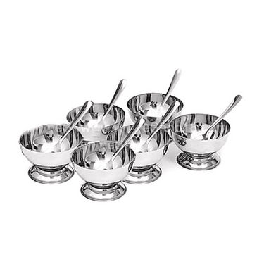6 Pcs Stainless Steel Dessert / Icecream Cups with Spoon Set