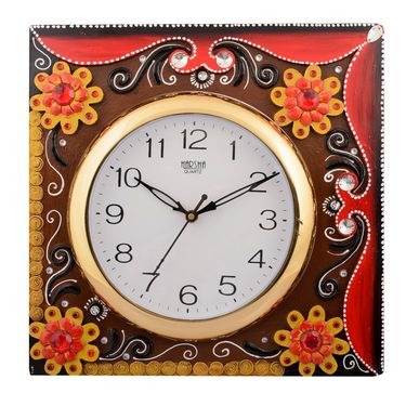 Wooden Papier Mache Floral Embossed Wall Clock-KWC551