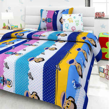 Set Of 5 Kids single Bedsheet With 5 Pillow Cover-KZ_1410_11