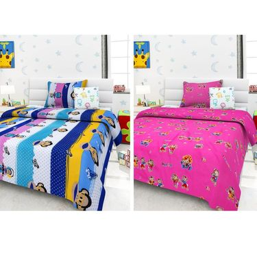 Set Of 2 Single Kids Bedsheet With 2 Pillow Cover -1411-1401