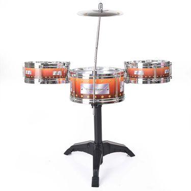 Kids Musical Drum Set - 3 Drums, Cymbal, 2 Sticks, Stand
