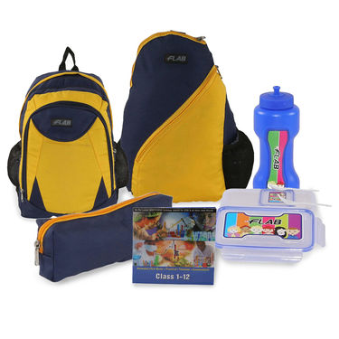 Kids School 17inch Bagpack Combo Boys Yellow & Blue - CB-1403