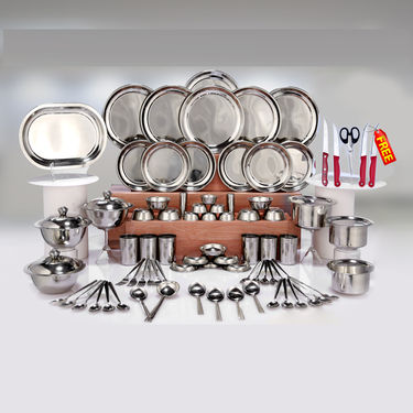 Kitchen Queen 81 Pcs Stainless Steel Dinner Set + Free Knife Set + Chopping Board