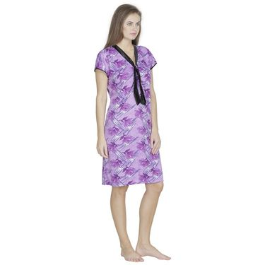 Klamotten Cotton Printed Nighty - Purple - X130_Pr_Prpl