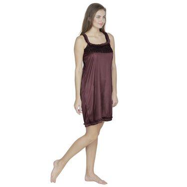 Klamotten Satin Plain Nightwear - Brown - X55_Brown