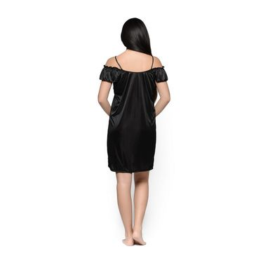 Klamotten Satin Plain Nightwear - Black - YY101