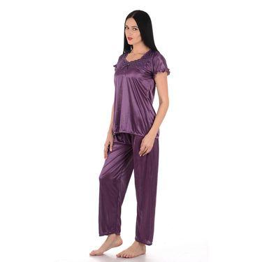 Klamotten Satin Plain Nightwear - Purple - YY125