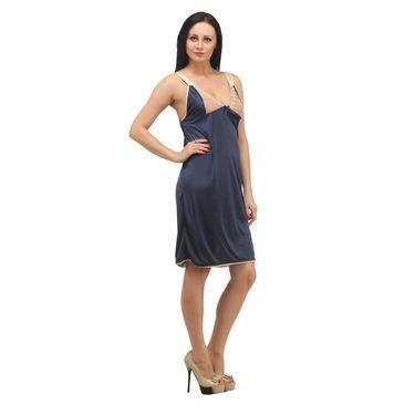 Klamotten Satin Plain Nightwear - Navy - YY13