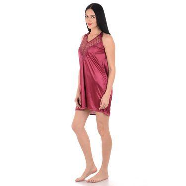 Klamotten Satin Plain Nightwear - Red - YY150