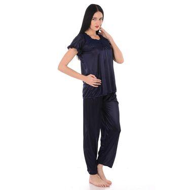 Klamotten Satin Plain Nightwear - Navy - YY200
