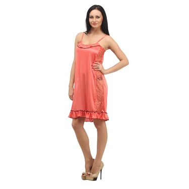 Klamotten Satin Plain Nightwear - PeachPuff - YY45
