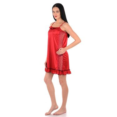 Klamotten Satin Plain Nightwear - Red - YY46