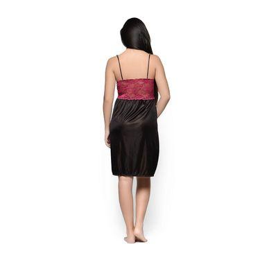 Klamotten Satin Plain Nightwear - Black - YY65