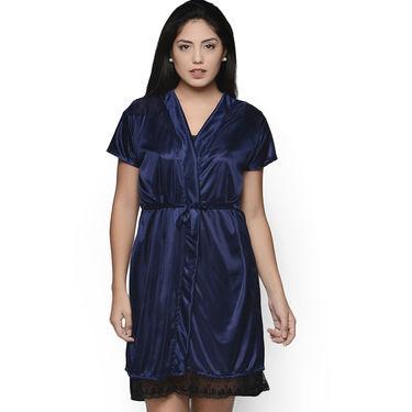 Klamotten Satin Plain Robe - Navy - YY67