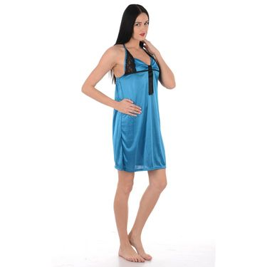 Klamotten Satin Plain Nightwear - Turquoise - YY79