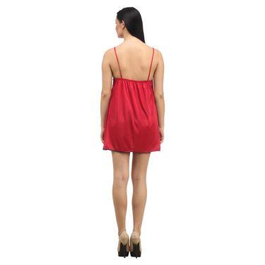 Klamotten Satin Plain Nightwear - Red - YY98