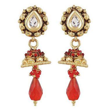 Kriaa Antique Gold Jhumki style Drop Earrings - Red _ 1301822
