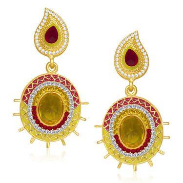 Kriaa Austrian Diamond Gold Plated Earrings   - Red & Yellow _ 1304604