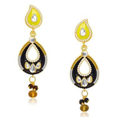 Kriaa Kundan Gold Plated Earrings - Blue & Pink _ 1304624