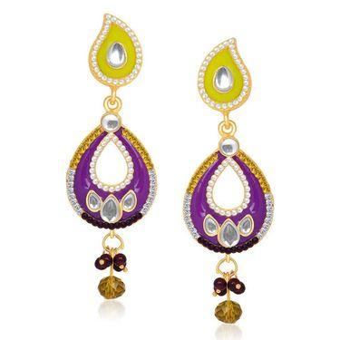 Kriaa Austrian Stone Gold Plated Earrings  - Green & Pink _ 1304626