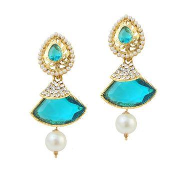 Kriaa Austrian Stone Pearl Gold Finish Dangle Earrings - Turquoise _ 1305811