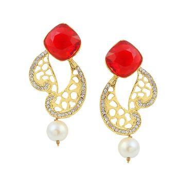 Kriaa Austrian Stone Pearl Drop Gold Finish Earrings - Red _ 1305823