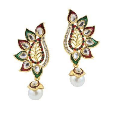 Kriaa Gold Finish Pearl Drop Earrings - Multicolour _ 1305825