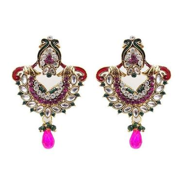 Kriaa Kundan Pearl Drop Earrings - Pink & Green _ 1300328