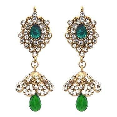 Kriaa Austrian Stone Jhumki Earrings - Green _ 1300835