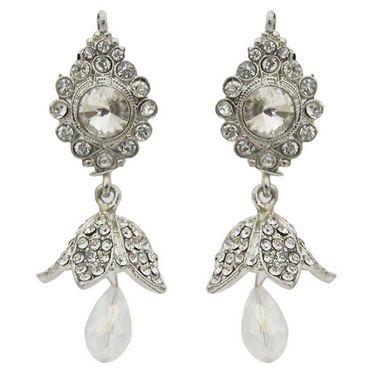 Kriaa Austrian Stone Jhumki Kundan Earrings - White _ 1300840