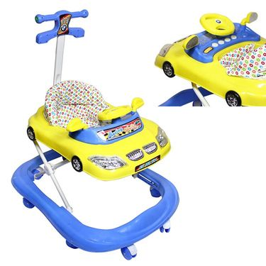Musical Walker with Lights And Canopy - Blue & Yellow