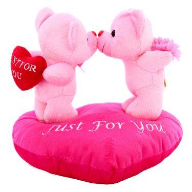 Valentine Stuff KissingCouple OnHeart Teddy Bear - Pink