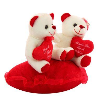 Heart In Hand Couple Valentine Stuff Teddy - White