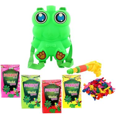 Holi Grey Water Pichkari Back Pack Tank Squirter Frog With Tota Gulal Balloons - 4TOTA