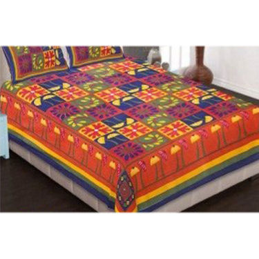 Set of 8 King Size Jaipuri Cotton Printed 4 Double 4 Single Bedsheet With 12 Pillow Cover-4D4S90X108B1