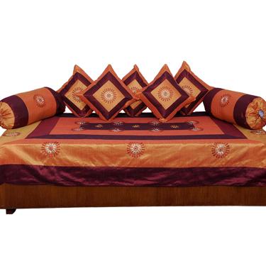 Little India 8 Piece Diwan Set  - Brown & Golden